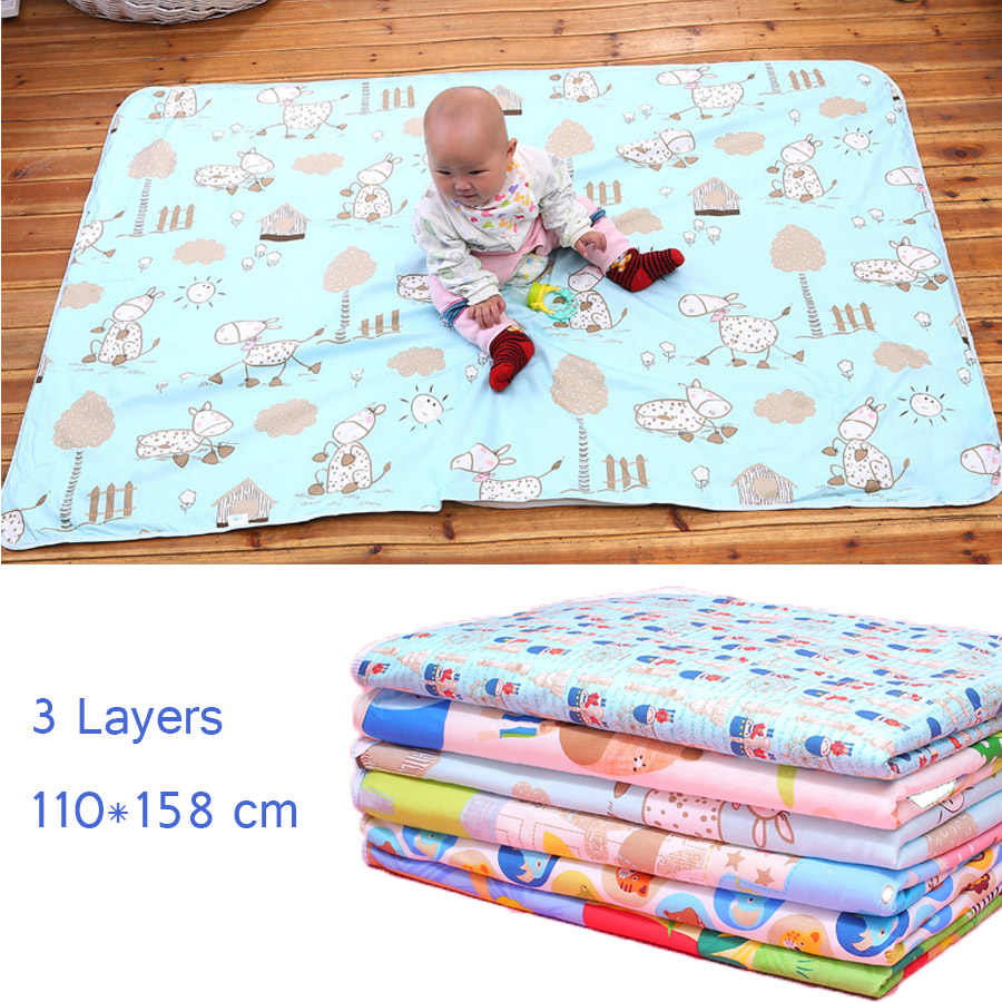 4 Sizes Baby Waterproof Sheet Urine Changing Pads Urine Pad Cartoon Reusable Infant Bedding Nappy Burp Mattress Changing Mat