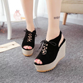 Summer 2017 new shoes large base wedge sandals flat tie belt fish mouth shoes waterproof Taiwan super high platform shoes