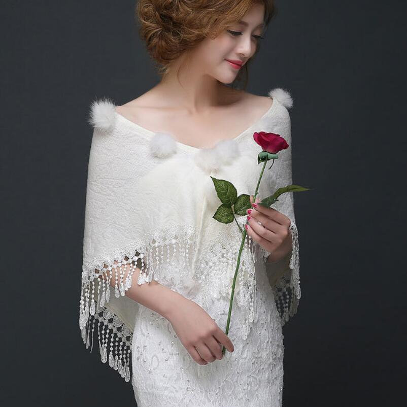 2019 New Arrival White Wedding Wrap Coat Jacket Faux Fur Bridal Wrap Elegant Accessories Cotton Warmer Women Shawls