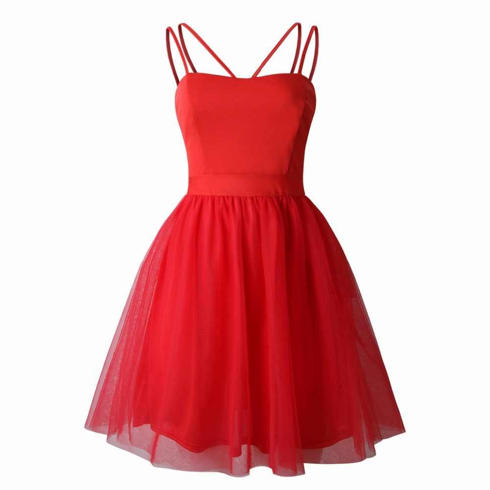 2019 сексуальное повседневное Сетчатое женское вечернее платье с открытыми плечами, без бретелек ТРАПЕЦИЕВИДНОЕ женское весенне-летнее платье Vestidos