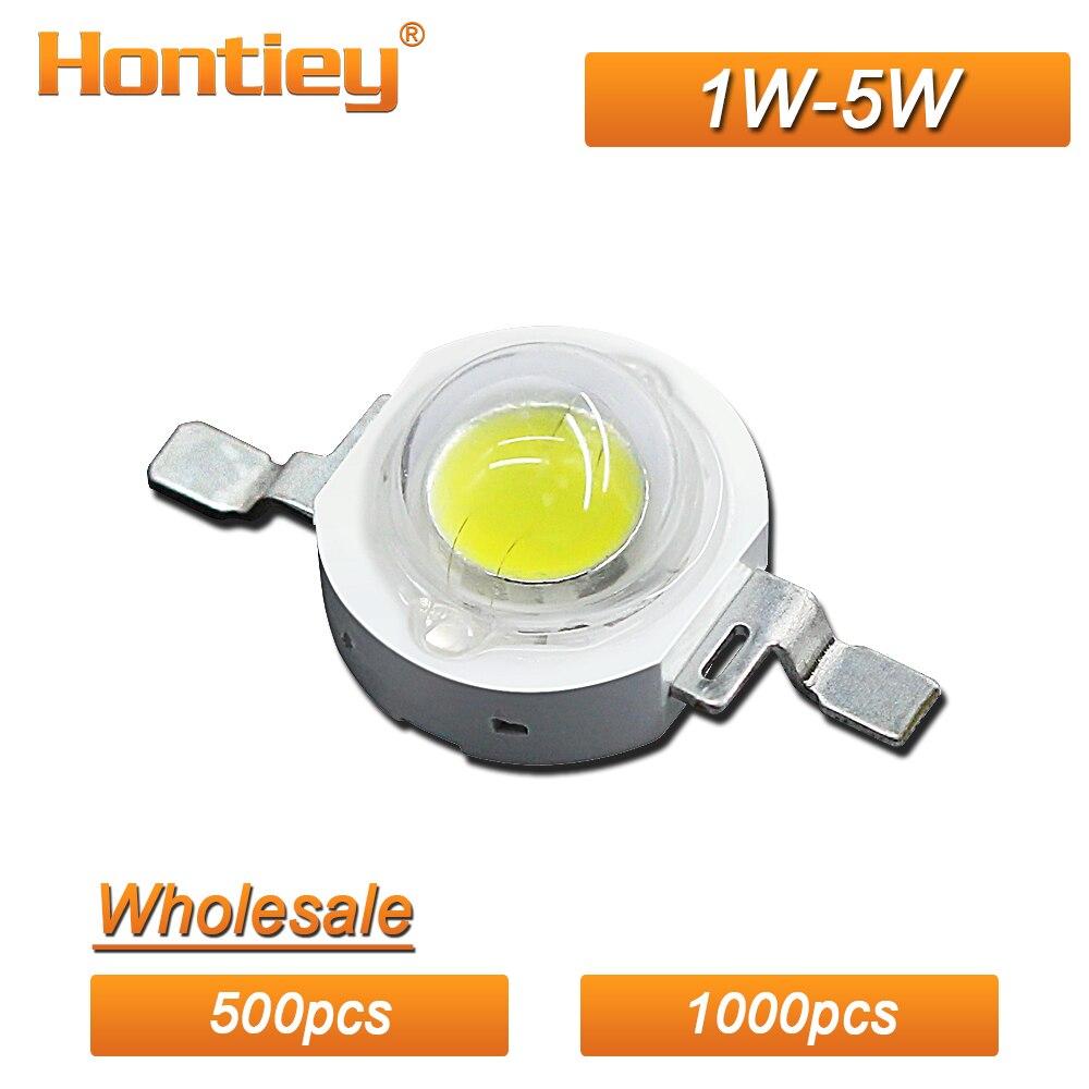 Hontiey gros 500 pièces 1000 pièces haute puissance LED Watt 1 W 3 W 5 W blanc bleu vert jaune rouge croissance lumière plein spectre ampoules
