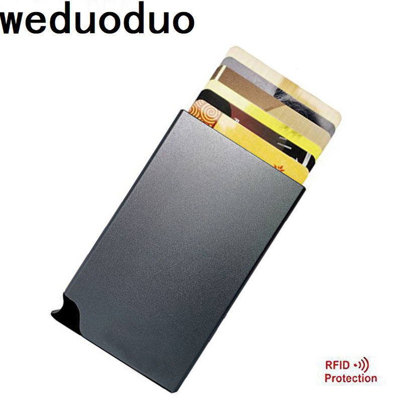 Weduoduo New Brand Credit Card Holders RFID Aluminum Alloy Card Case Bank Card Wallet Popup Automatically Colourful Card Box