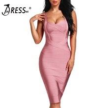 INDRESSME 2020 여성 미디 붕대 드레스 섹시한 스파게티 스트랩 Bodycon 클럽 파티 드레스 Vestidos 도매