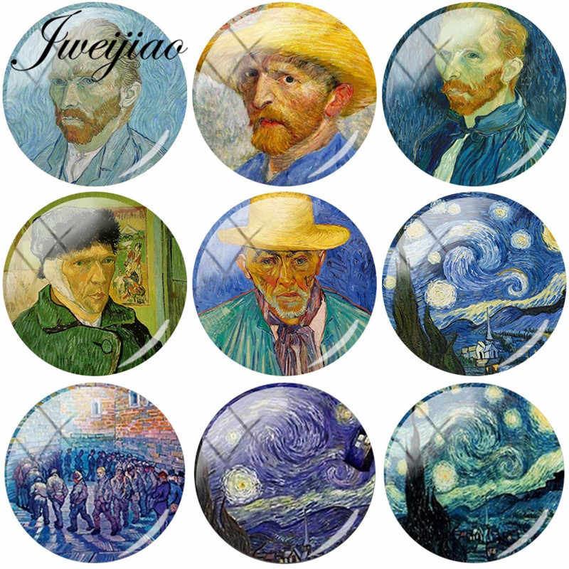 JWEIJIAO Hot Starry Night Retro Personality Art Van Gogh Painting DIY Glass Cabochon Dome Demo Flat Back Jewelry Findings