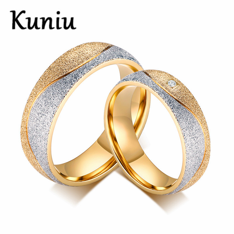 Fashion Stainless Steel Cz Couple Rings For Men Women Engagement