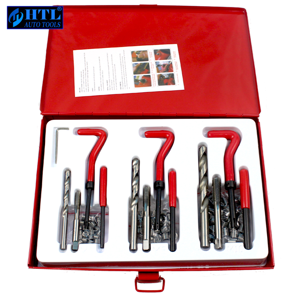 88Pc Thread Repair Kit Set Rethread M6 M8 M10 Damaged Threads Garage Tool m10 1 5 professional thread repair rethread kit restoring damaged threads