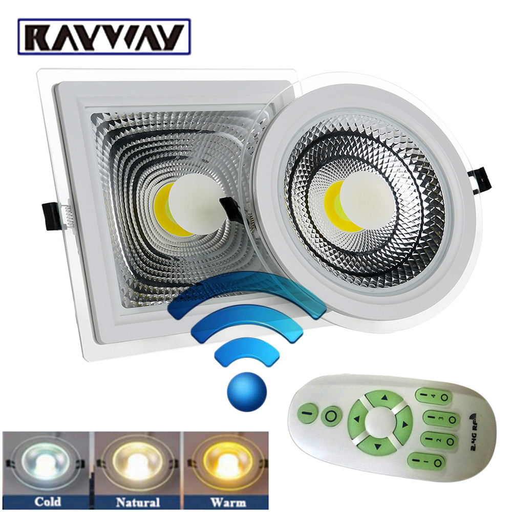 RAYWAY New dimmable Sync COB Ceiling Down <font><b>Light</b></font> Recessed LED Panel Lamp 2.4G wireless Remote glass indoor Downlights AC85V-265V