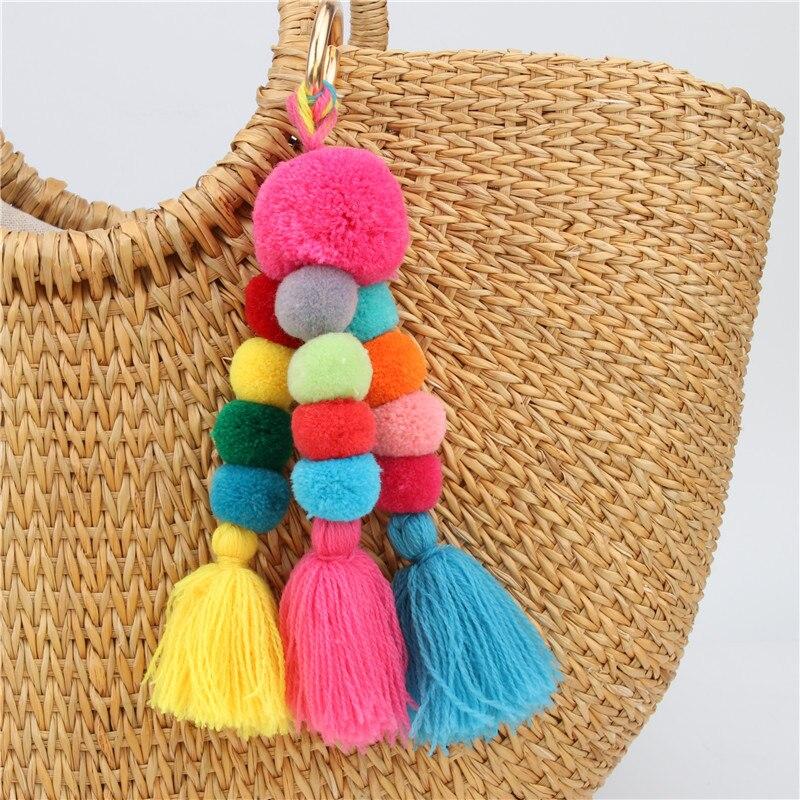 Big Plush Ball With Fringes Key Chain Bohemia Women's Purse Bag Charm Pompom Tassel Keychains Jewelry Diy Handmade Key Ring P34