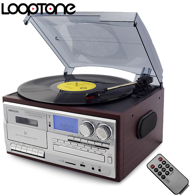LoopTone 3 Geschwindigkeit Vinyl-plattenspieler Plattenspieler W/CD & Kassette AM/FM Radio USB/SD Recorder Aux-in RCA Line-out