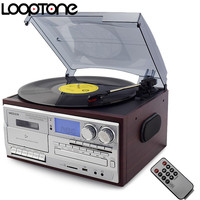 LoopTone 3 Speed Vinyl Record Player Turntable W CD Cassette Player AM FM Radio USB SD