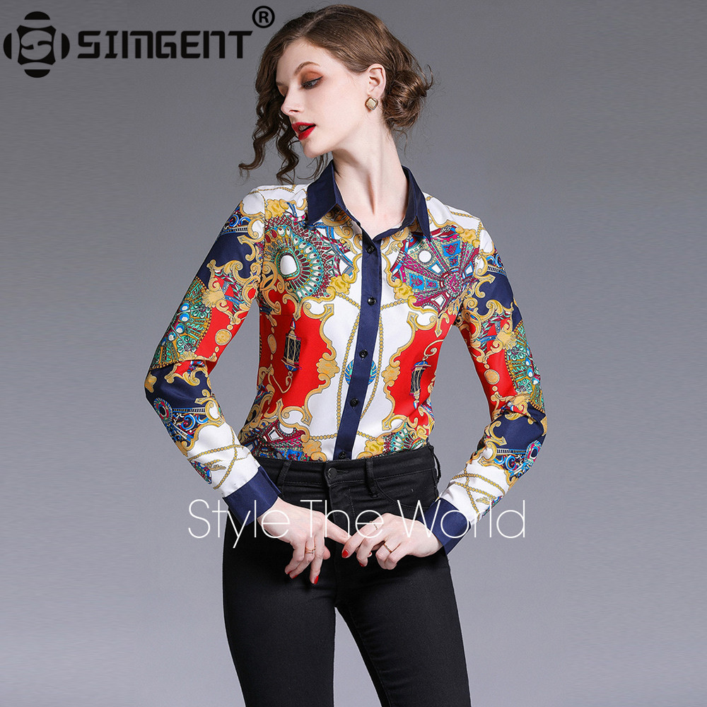 Simgent Office Blouse New Arrival Womens Long Sleeve Printing Vintage Casual Elegant Shirt Women Ladies Tops Chemisier SG9575
