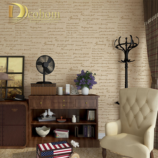 Simple Modern Vintage American Letters Wallpaper For Walls Study ...