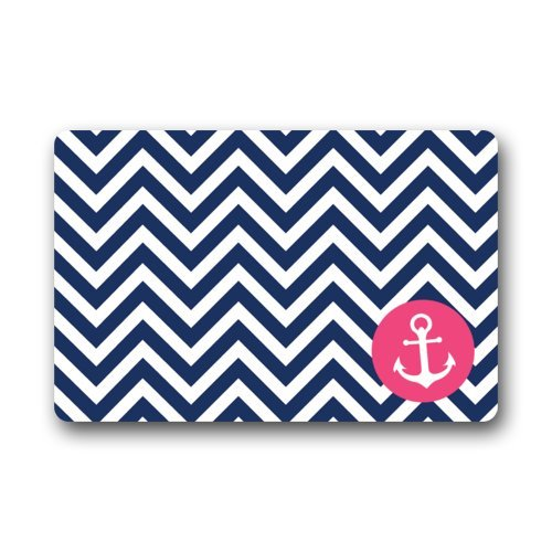 Navy <font><b>Blue</b></font> And White Chevron Art Pattern With Pink Anchor Art Door Mat Doormat Rugs for Home/Office/Bedroom