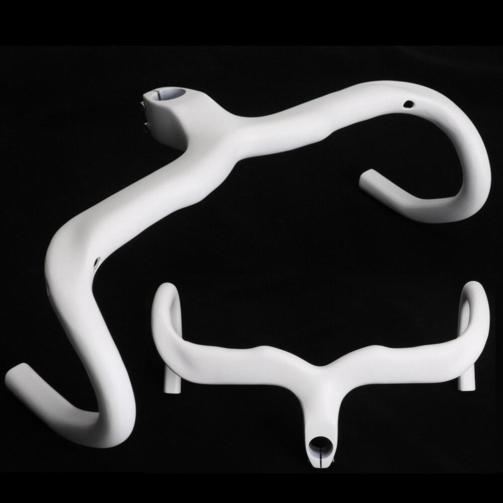 Ultralight White Road Bike Carbon Fibre Integrated Handlebar Racing Bicycle Bent Bar With Stem toseek full carbon fibre bicycle road handlebar integrated bike handlebar stem cycling bent bar ud matte gloss balck logo