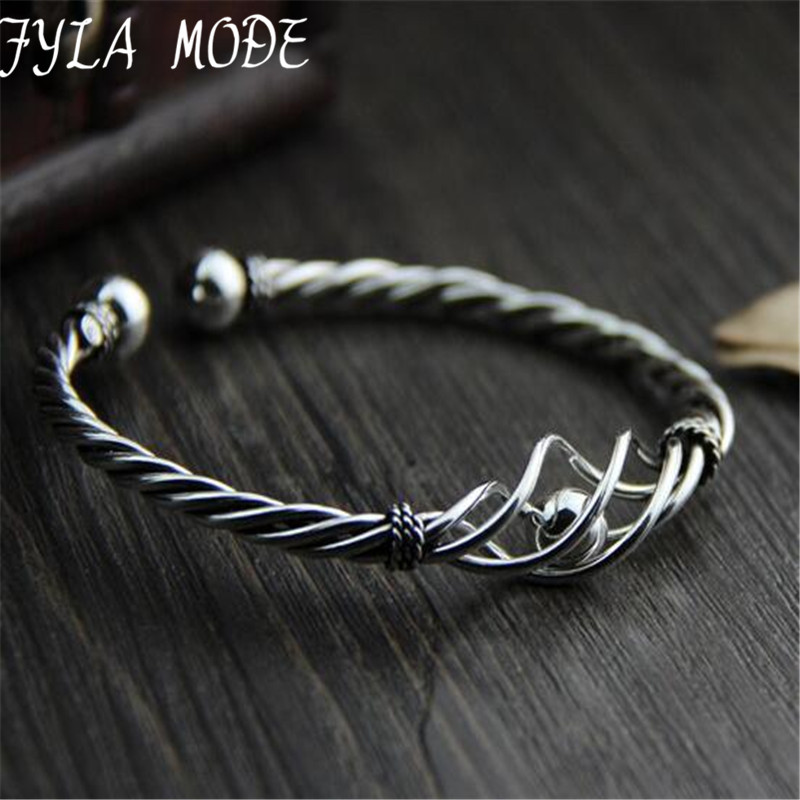 Fyla Mode Riktigt Rent 100% 925 Sterling Silver Bangles Kvinnor Armband Twisted Rope Bangle Vintage Bröllop Justerbart Armband