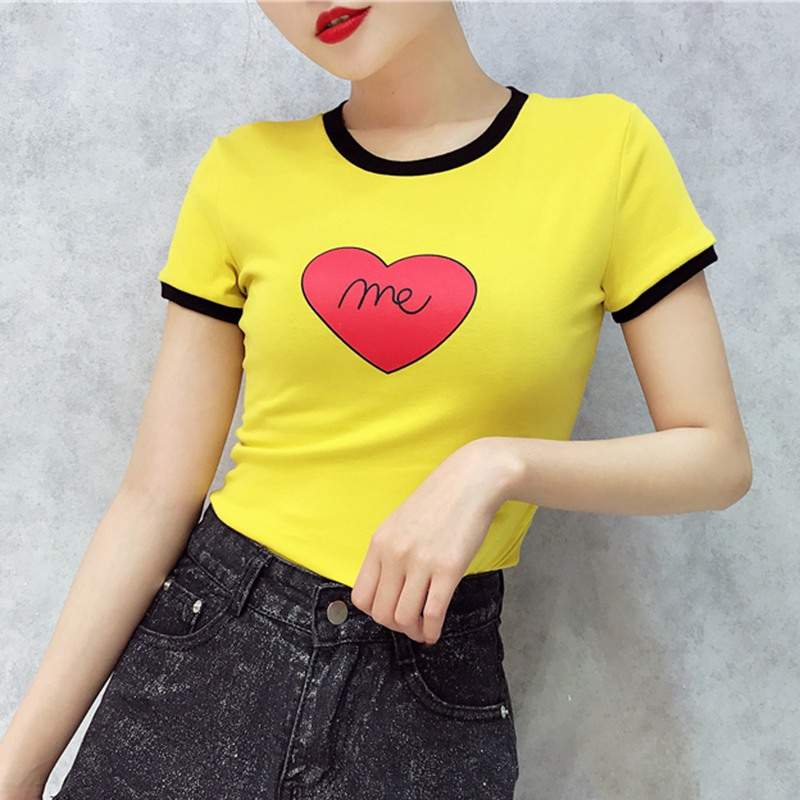 Fashion T shirt Woman Summer Girls Heart Print Short Sleeve O Neck Women Top Slim Fit Women Tshirt