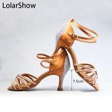 New Ladies  Satin Crystal Rhinestone Ballroom SALSA Latin Tango Dance Shoes  4.5 5 6 6.5 7.5 8 8.5 9 все цены