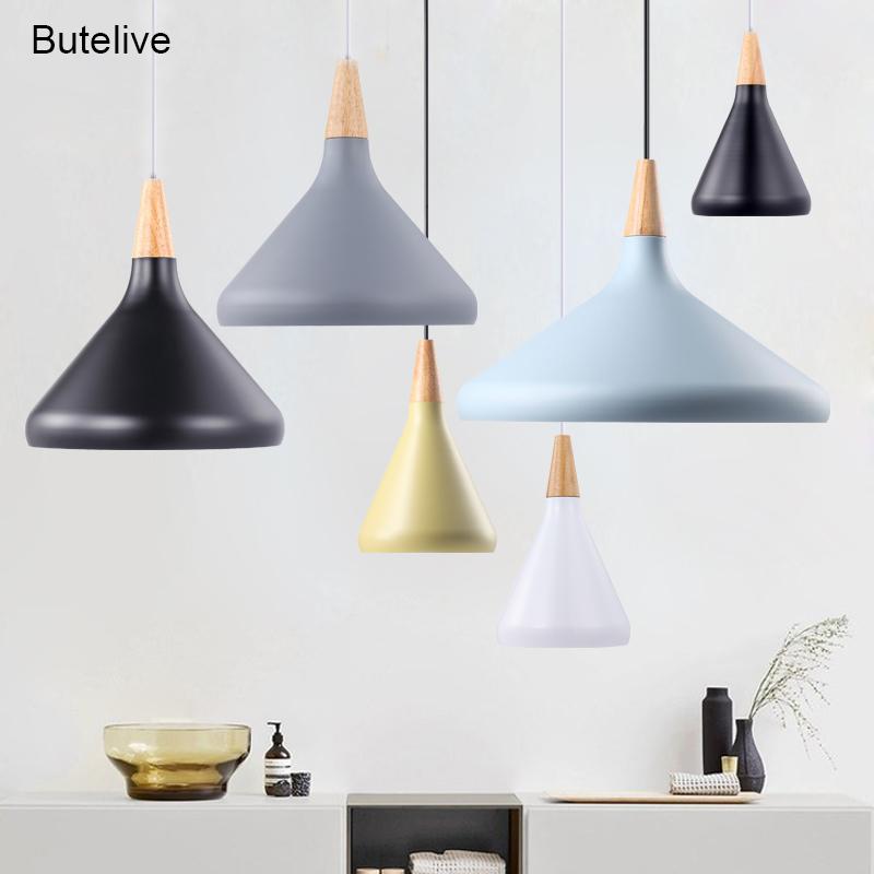E27 Led Pendant Lights Modern Nordic Lamp Industrial Pendant Lamp Loft Wood Light Bedroom Dining Room Restaurant Kitchen Light