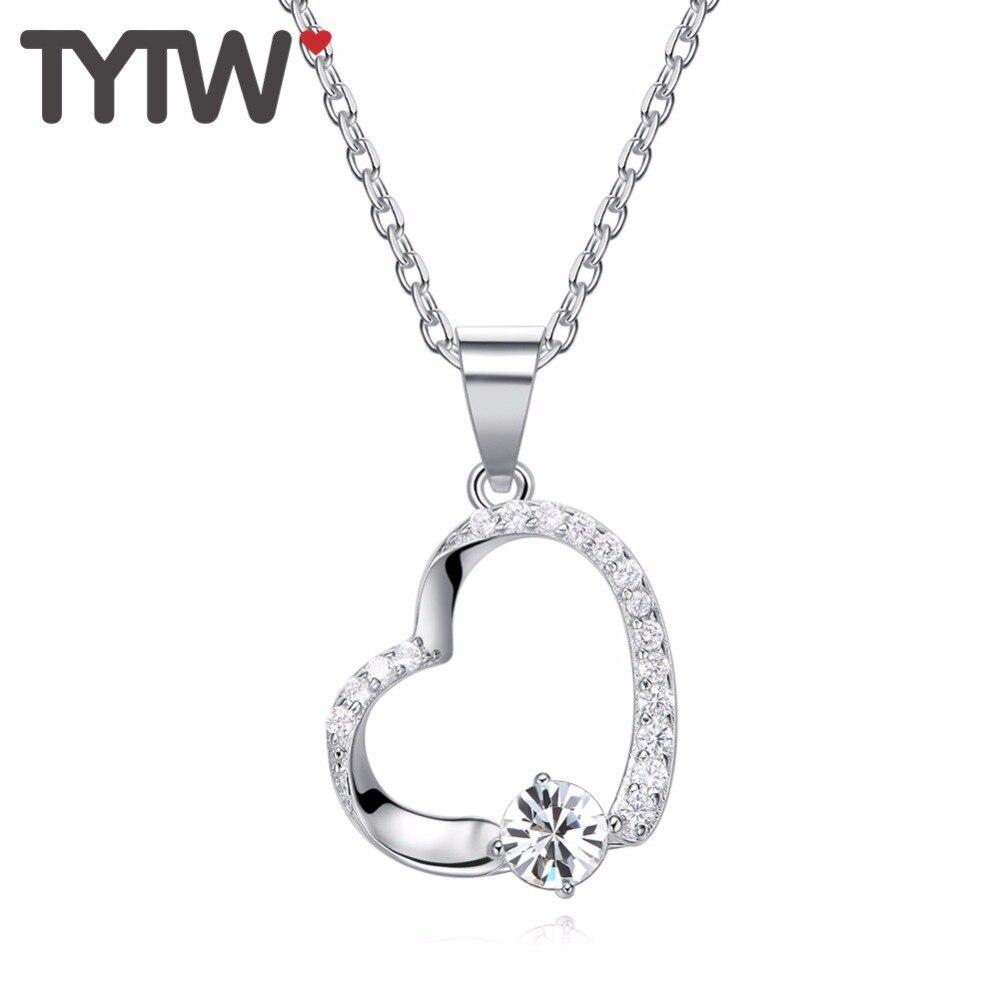 TYTW Νέες γυναίκες Καρδιά κρεμαστό κολιέ κλασικά κρύσταλλα Από ... 708013d3edb
