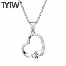TYTW Самые новые ожерелья сердца сердца привесные классические кристаллы от Swarovski S925 Серебряные ювелирные изделия годовщины подарки для леди