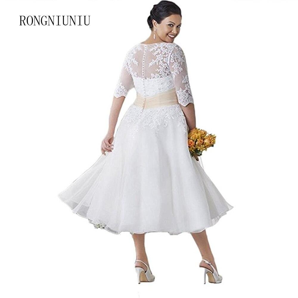 Tea Wedding Dresses 2019 Large Size Short Bridal Gowns Embroidery Vestidos De Novia V-neck Beaded Ball Gown Plus Size