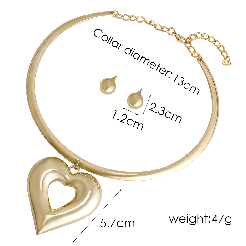 VIVILADY Trendy Heart Metal Jewelry Sets Gold Color Zinc Alloy Boho Choker Necklace Earring African Women Wedding Accessory Gift 5