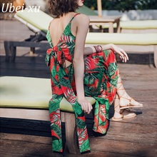 Ubei Women Beach large hem dress girl summer new Thai Bohemian mid-length women hollow back bow sexy