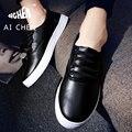 2017 Nuevo Estilo Zapatos de Los Hombres de Moda de Cuero Blanco Zapatos Masculinos Mocasines casuales Para Hombre Zapatos Ocasionales Planos de La Venta Caliente Zapatillas de Deporte Negras 209
