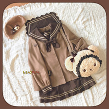 Маха или шоколадное печенье японского студента JK униформа набор: длинный рукав матросский воротник блузка и лук+ плиссированная юбка элегантный дизайн