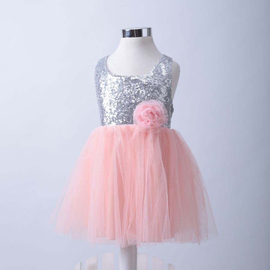 Baby girl pink sequin dress - 2017 Baby Girls Sequin Tutu Bow Dress Backless Princess Pink Party Dresses Retail China