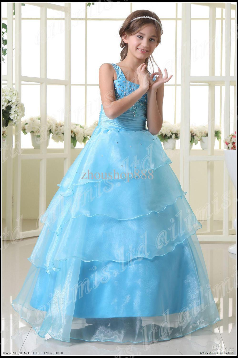 Aliexpress.com : Buy Light Blue Girl Kids Pageant Dress Bridesmaid ...