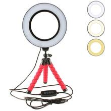 Anillo de luz LED para Selfie regulable con cabezal de cuna, Mini esponja Flexible, trípode de pulpo, soporte para maquillaje, vídeo en vivo, estudio fotográfico