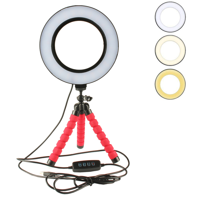LED Selfie Ring Light Dimmable With Cradle Head Mini Flexible Sponge Octopus Tripod Stand For Makeup Video Live Studio Photograp
