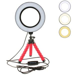 Image 1 - Đèn LED Selfie Vòng Ánh Sáng Mờ Với Giá Đỡ Đầu Mini Linh Hoạt Bọt Biển Bạch Tuộc Chân Đế Tripod Trang Điểm Video Sống Phòng Thu Photograp