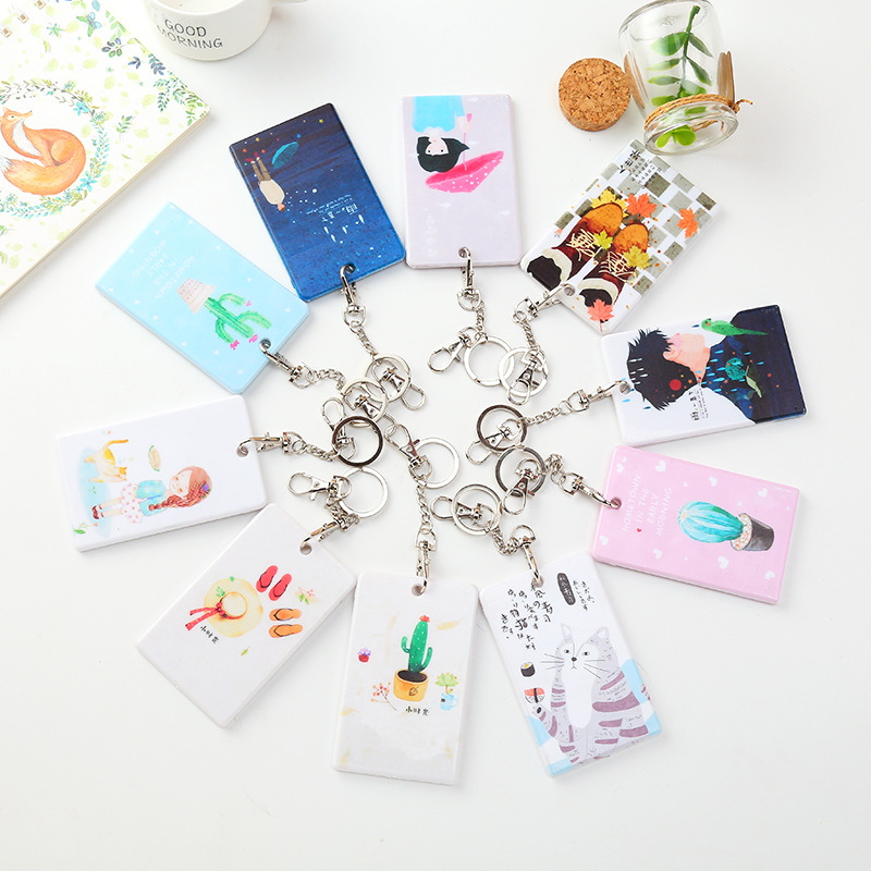 Coloffice Kawaii beauty girls Cartoon Creative PU Card Sets Key chain Bus Meal Card Case Students Multifunction Card Holder 1pcs