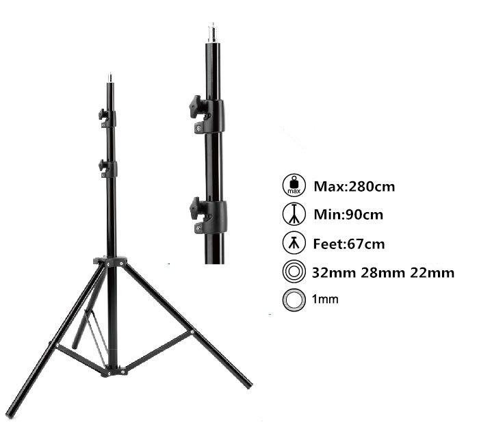 Max entension 280cm LED lighting stand tripod Ajustable Photo Studio Accessories For Softbox Photo Video Lighting