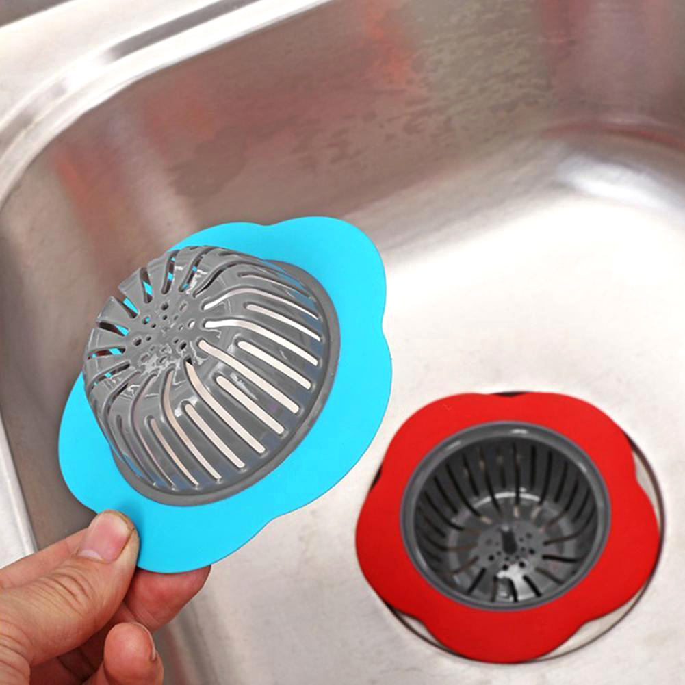 Flower Shaped Silicone Sink Strainer Shower Sink Strainer Floor Drain Anti-clogging Filter 2
