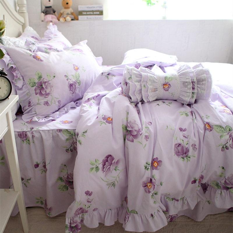 Nuevo Jardín pastoral de impresión juego de cama caliente lijado funda nórdica de la colmena púrpura elegante colcha hoja de cama textiles para el hogar de la venta caliente