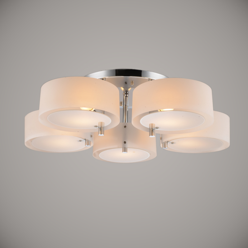 Ecolight Modern Ceiling Light 5 Lights E26 E27 Brushed Nickel Acrylic Glass Flush Mount For