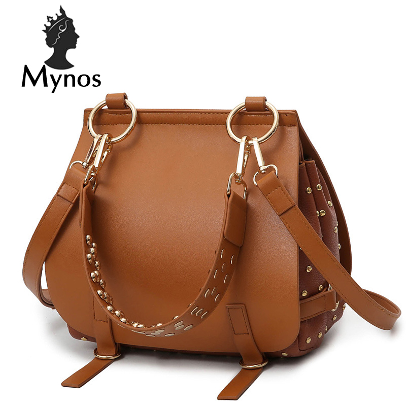 ФОТО MYNOS NEW Rivet Brand Women Messenger Bag Leather Tote Bags For Women Luxury Handbags Famous Designer Bags Ladies SAC A MAIN