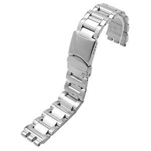 Image 5 - Correa de acero inoxidable, 17mm, negro, plateado, doble profundo, respuestos, correa de reloj para Swatch YRS, correa de reloj + herramienta