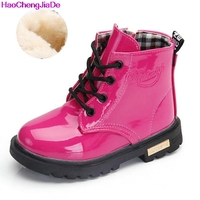 Boys Rubber Boots New Autumn Winter PU Leather Waterproof Martin Boot Kids Snow Boot Brand Girls