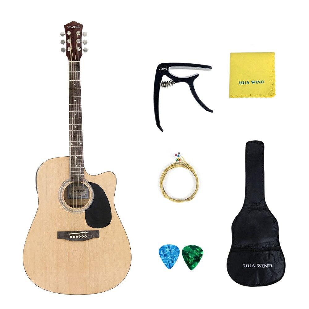 HUAWIND guitare acoustique 41in taille réelle guitare acoustique naturelle coupée + 5 bande EQ avec Gig Bag Capo cordes pics chiffon de polissage