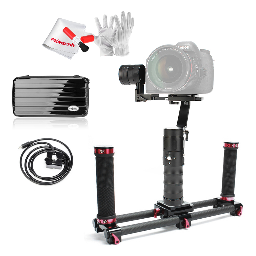 Beholder EC1 3-Axis Handheld Gimbal Stabilizer 2000g Playload 8hrs Run-time Screen Display + Dual Handle Grip + 1M Remote Cord beholder d2 carbon fiber dual handle grip with arch rectangular plate and pergear magic stickers for beholder ds1 ms1 stabilizer