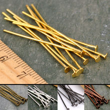 100pcs 15 20 25 30 40 45 50 60 65 70 mm 21 Gauge Metal Flat Heads Pin For Jewelry Making Findings Accessories Wholesale Supplies(China)