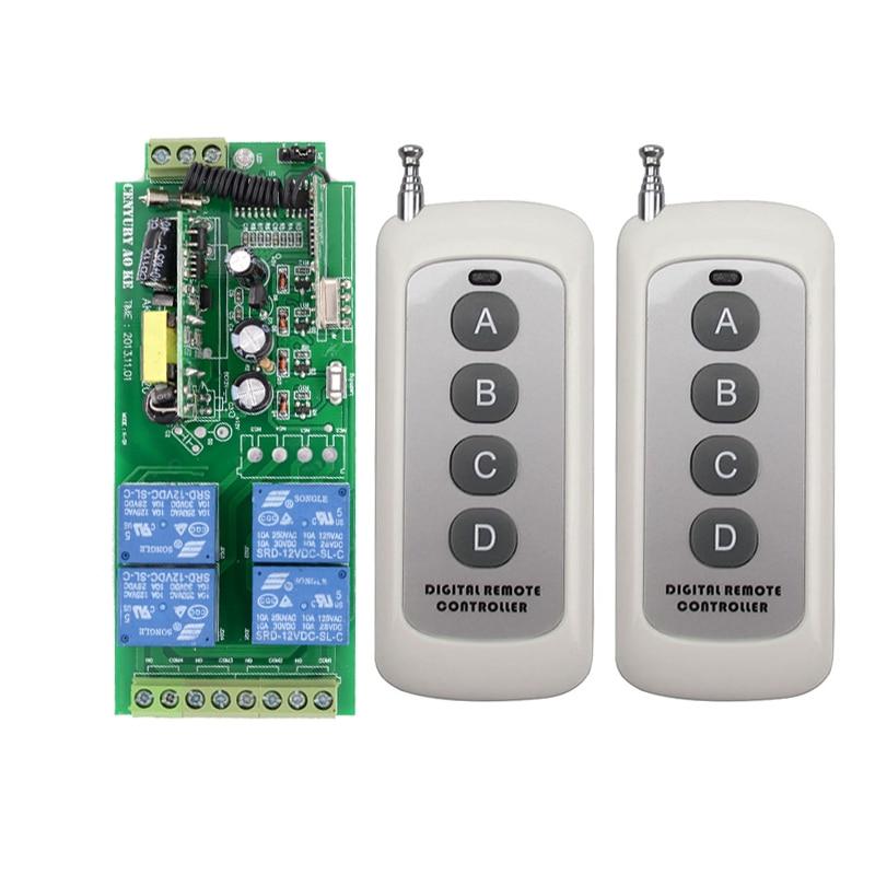 AC85v~250V 110V 230V 4CH Wireless Remote Control Switches 220V Relay Output Radio RF Transmitter And 315Mhz /433Mhz Receiver hot sales 315mhz 433mhz rf wireless remote control light switch 3 remote control and 4 receiver 110v 220v