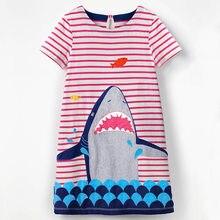 13bb5d3eabbb14 Summer Girls Dress Baby Shark Clothes Stripe Animal Print T Shirt Dress Cute  Flower Children Casual