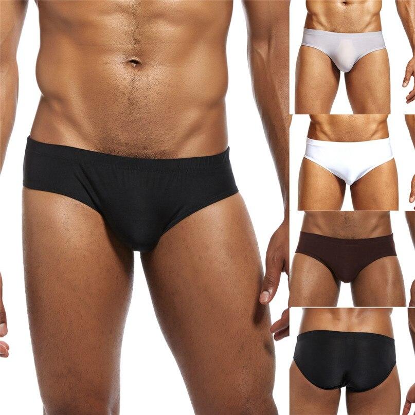 Briefs Men Shorts Low-Waist Underwear Sexy Breathable New Fashion -2d26 Pure-Ice-Silk