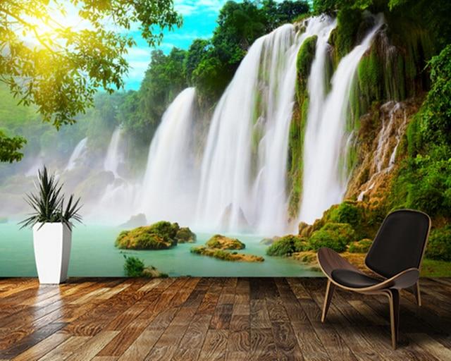 Benutzerdefinierte foto landschaft tapeten 3d wasserfall - Quadratmeter wand berechnen ...
