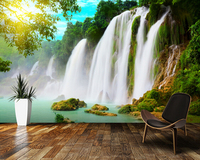 Custom Photo Landscape Wallpaper 3D Waterfall Wallpaper For Living Room Bedroom Kitchen Background Wall Waterproof PVC